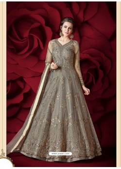Exceptional Silver Embroidered Designer Floor Length Anarkali Suit