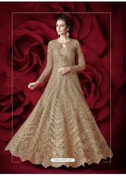 Golden Embroidered Designer Floor Length Anarkali Suit