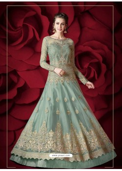 Modern Aqua Mint Embroidered Designer Floor Length Anarkali Suit