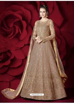 Incredible Dusty Pink Embroidered Designer Floor Length Anarkali Suit