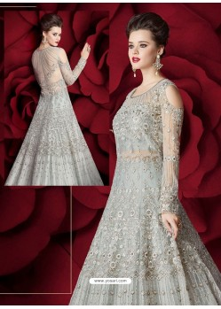 Beautiful Grey Embroidered Designer Floor Length Anarkali Suit