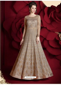 Fantastic Light Brown Embroidered Designer Floor Length Anarkali Suit