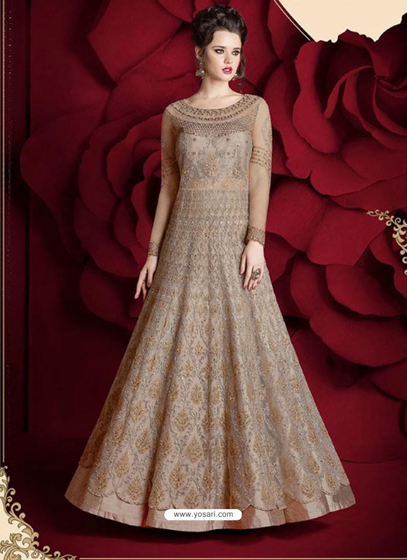 40a1cab2b Buy Fantastic Light Brown Embroidered Designer Floor Length Anarkali ...