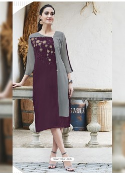 Purple And Grey Georgett Designer Readymade Kurti