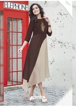Brown And Beige Georgett Designer Readymade Kurti