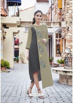 Olive Green And Grey Georgett Designer Readymade Kurti