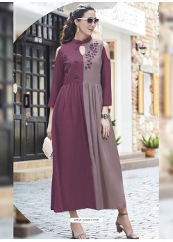 Deep Wine And Dusty Pink Georgett Designer Readymade Kurti