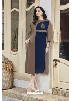 Camel And Navy Blue Georgett Designer Readymade Kurti