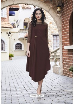 Beautiful Coffee Georgett Designer Readymade Kurti