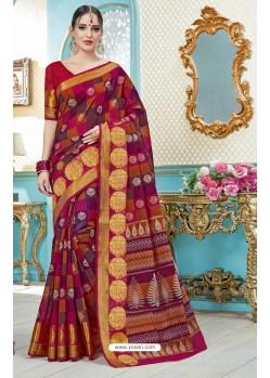 Multi Colour Printed Cotton Designer Saree
