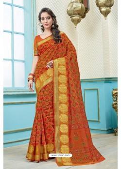 Orange Printed Cotton Designer Saree