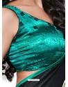 Green and Black Color Crape Silk jacorde Digital Printed