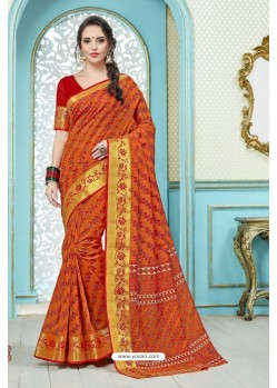 Incredible Orange Printed Cotton Designer Saree