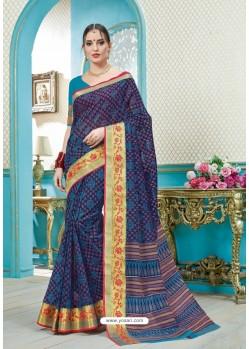 Exclusive Multi Colour Printed Cotton Designer Saree