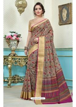 Awesome Multi Colour Printed Cotton Designer Saree