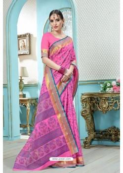 Pink Printed Cotton Designer Saree