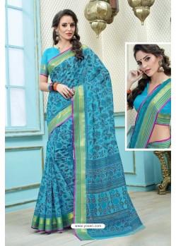 Turquoise Printed Cotton Designer Saree