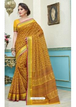 Delightful Mustard Printed Cotton Designer Saree