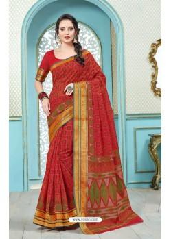 Crimson Printed Cotton Designer Saree