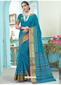 Teal Blue Printed Cotton Designer Saree