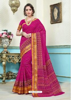 Fuchsia Printed Cotton Designer Saree