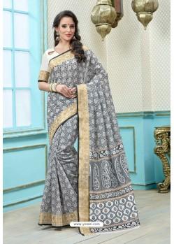 Off white And Black Printed Cotton Designer Saree