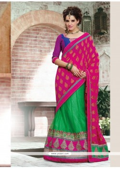 Magenta And Green Net And Crepe Jacquard Lehenga Saree