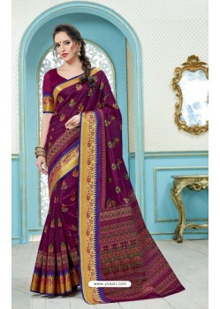 Purple Printed Cotton Designer Saree
