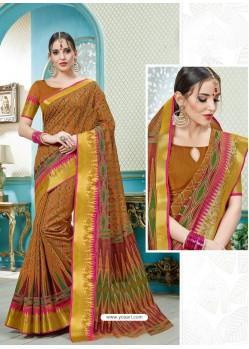 Amazing Mustard Printed Cotton Designer Saree