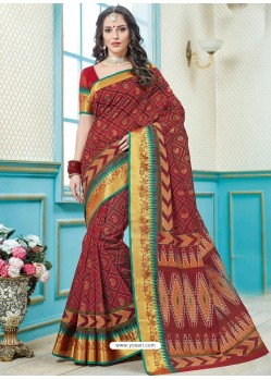 Maroon Printed Cotton Designer Saree