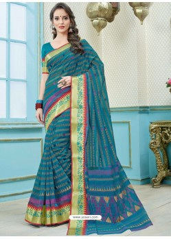 Terrific Teal Blue Printed Cotton Designer Saree
