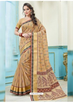 Light Beige Printed Cotton Designer Saree