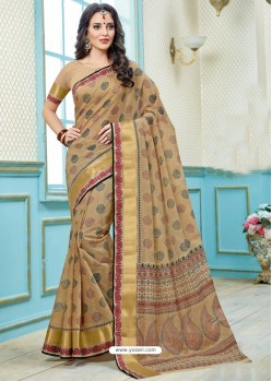 Deserving Beige Printed Cotton Designer Saree