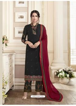 Black Georgett Full Embroidered Designer Straight Suit