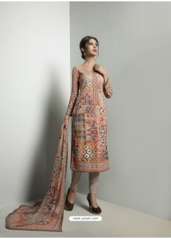Mind Blowing Beige Georgett Printed And Embroidered Designer Straight Suit