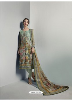 Wonderful Green Georgett Printed And Embroidered Designer Straight Suit