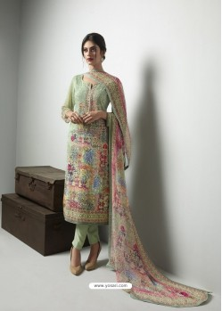 Amazing Sea Green Georgett Printed And Embroidered Designer Straight Suit
