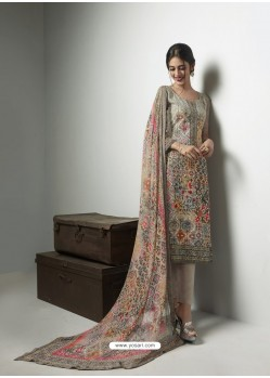 Extraordinary Taupe Georgett Printed And Embroidered Designer Straight Suit