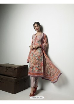 Spectacular Dusty Pink Georgett Printed And Embroidered Designer Straight Suit