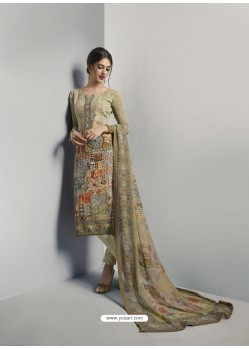 Remarkable Olive Green Georgett Printed And Embroidered Designer Straight Suit