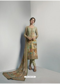 Attractive Mehendi Georgett Printed And Embroidered Designer Straight Suit