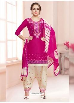 Fuchsia Cotton Satin Thread Embroidered Designer Salwar Suit