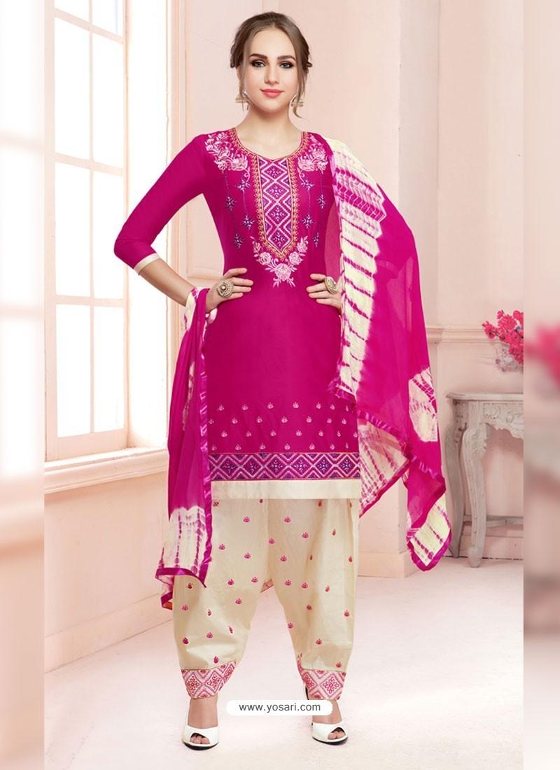 Buy Fuchsia Cotton Satin Thread Embroidered Designer Salwar Suit