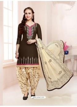 Coffee Cotton Satin Thread Embroidered Designer Salwar Suit