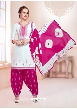 White Cotton Satin Thread Embroidered Designer Salwar Suit