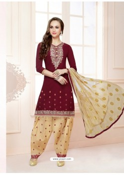 Maroon Cotton Satin Thread Embroidered Designer Salwar Suit