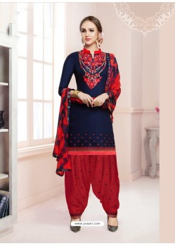 Navy Blue Cotton Satin Thread Embroidered Designer Salwar Suit