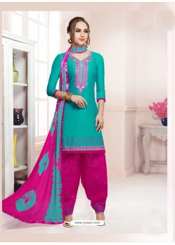 Turquoise Cotton Satin Thread Embroidered Designer Salwar Suit