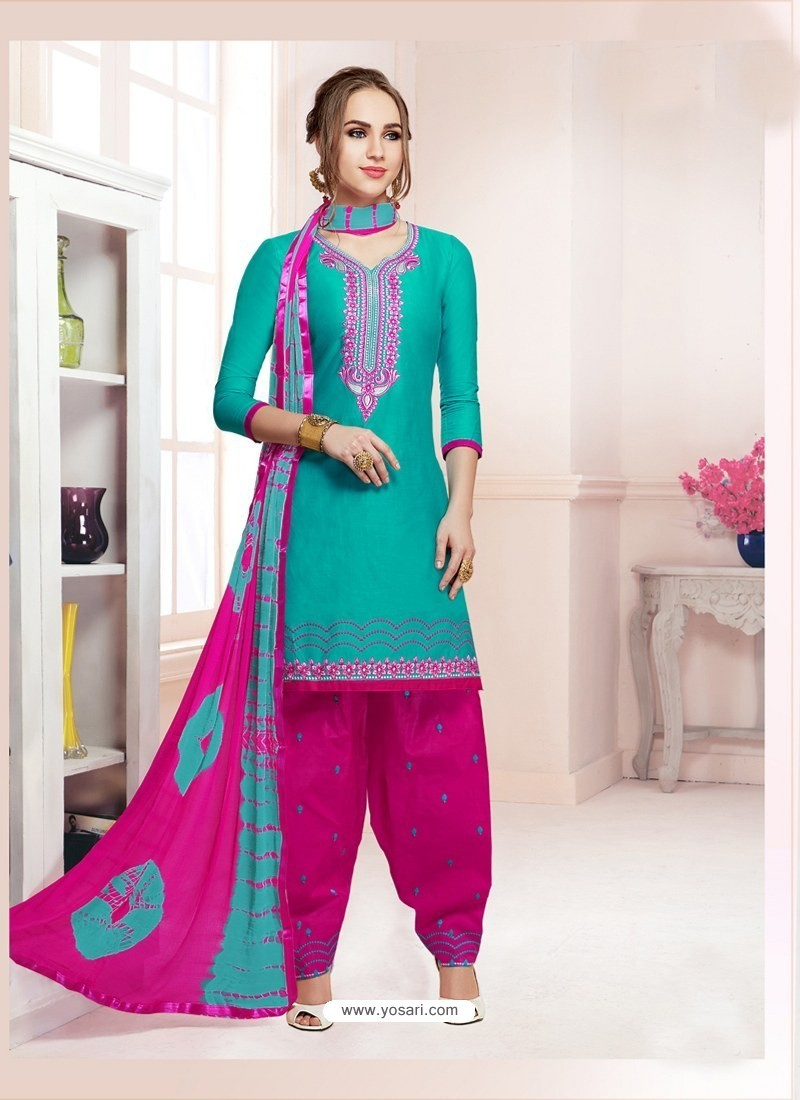 Buy Turquoise Cotton Satin Thread Embroidered Designer Salwar Suit ...