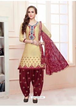 Cream Cotton Satin Thread Embroidered Designer Salwar Suit